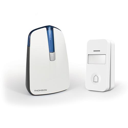 Thomson - Sonnette sans fil 150m avec bouton sans fil, sans pile - Reconditionnée