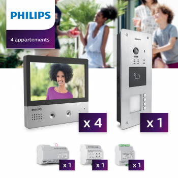 Interphone vidéo Philips Welcome Hive PRO pour 4 appartements