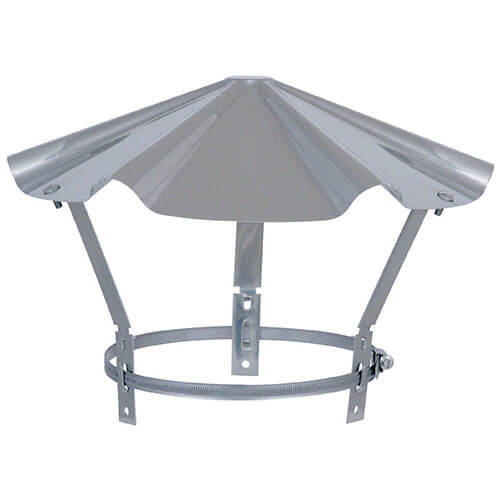 Chapeau en INOX avec diamètre réglable pour sortie de toit - poêle ou cheminée