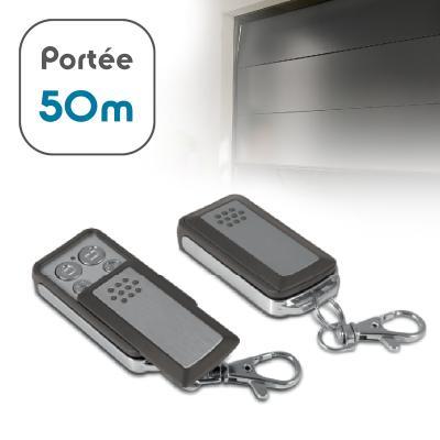 2 télécommandes avec une portée de 50m pour porte de garage