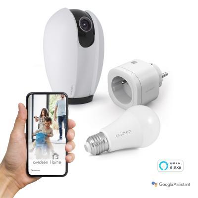 Kit domotique Starter Kit Avidsen Home :  caméra IP Motorisée + prise connectée + ampoule connectée