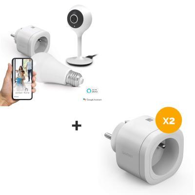 Starter kit + 2 prises supplémentaires = 3 prises connectées + ampoule connectée + caméra IP