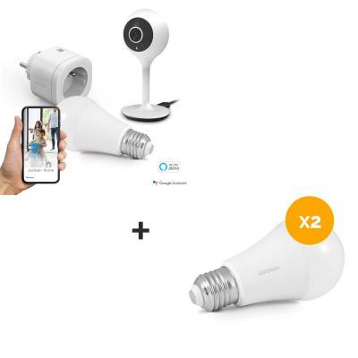 Starter kit + 2 ampoules supplémentaires = Prise connectée + 3 ampoules connectées + caméra IP