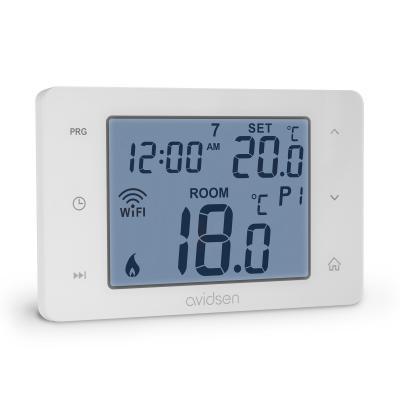 Thermostat connecté pour chaudière vue de côté