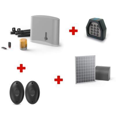 Kit motorisation Easymate Samy + Digicode + panneau solaire + Avidsen Home Gate + jeu de 2 photocellules