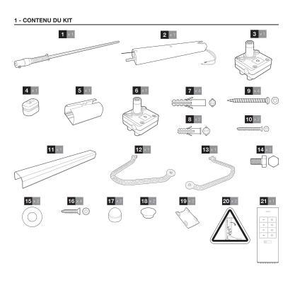 Contenu du kit de la motorisation de volet Battant Thomson