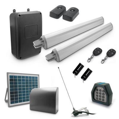 Motorisation de portail coulissant avec alimentation solaire, 4 télécommandes, une antenne, 2 photocellules et un digicode