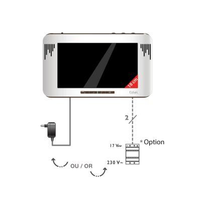 L'écran du visiophone se branche soit sur une prise soit sur le tableau électrique