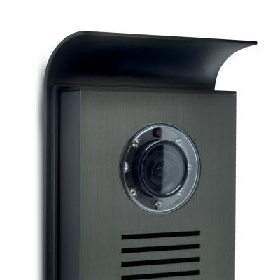 zoom sur la caméra de la platine de rue du extel nova blanc