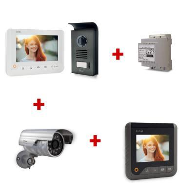 Kit 720288PREMIUM : Visiophone + adaptateur modulaire (rail) + caméra + moniteur supplémentaire
