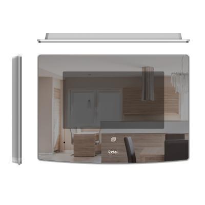 Vue face + coté + dessus de l'écran de l'interphone Vidéo Extel Glass