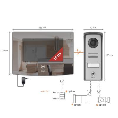 Schéma du kit visiophone Extel glass : écran + platine de rue