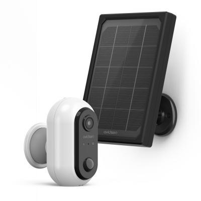 Caméra extéieure solaire devant un panneau solaire Outdoor Home Cam