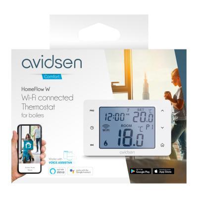 Carton du Thermostat connecté pour chaudière Home Flow vue de face