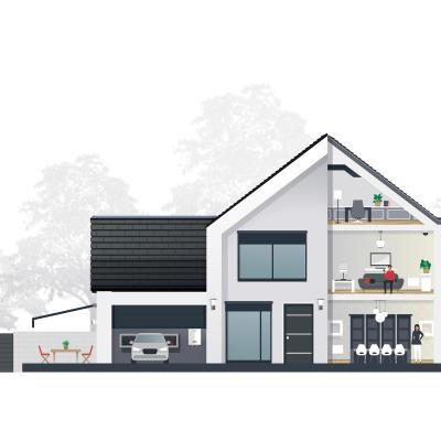 Coupe d'une maison domotisée avec At Home