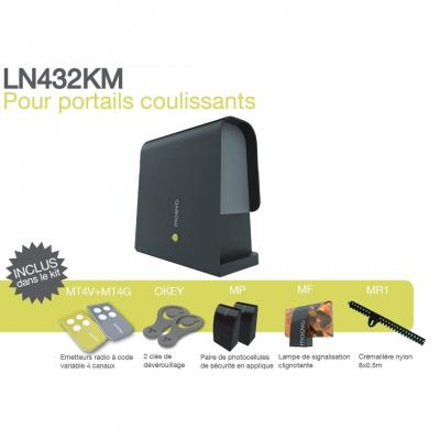 Contenu du kit motorisation LN432KM de chez Moovo pour portail coulissant 5 m