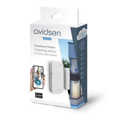 Vue de 3/4 du packaging du détecteur d'ouverture Avidsen