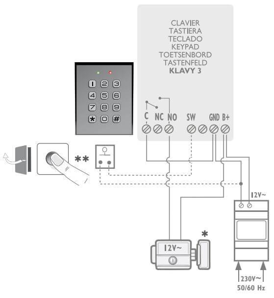 Schéma de branchement d'un digicode Extel avec un bouton poussoir