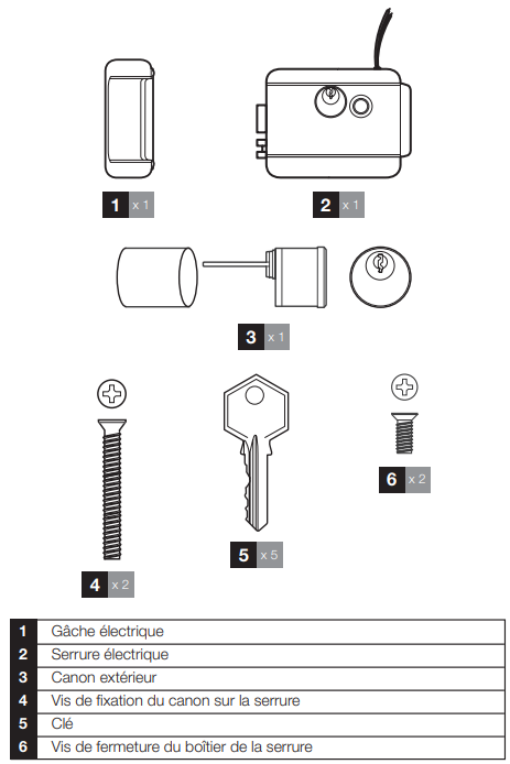 Contenu du kit Serrure électrique Thomson