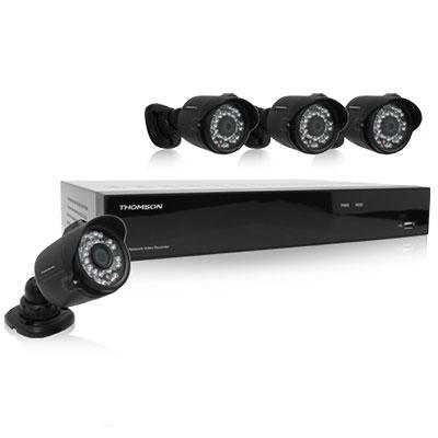 Enregistreur vidéo réseau IP 1080P 4 caméras + HDD 1To Thomson