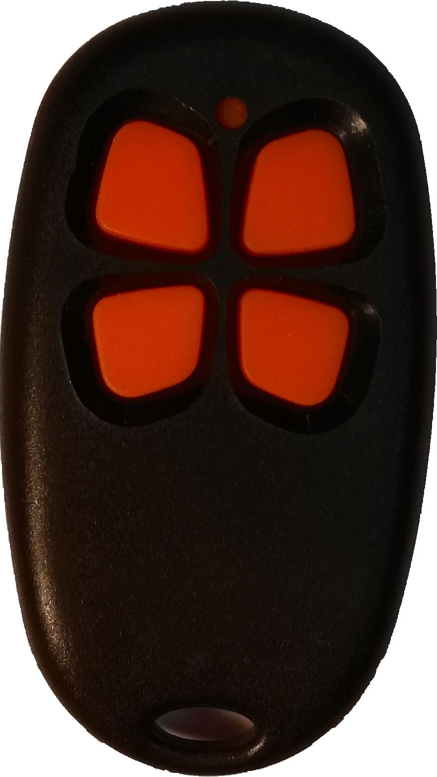 télécommande noire à boutons orange