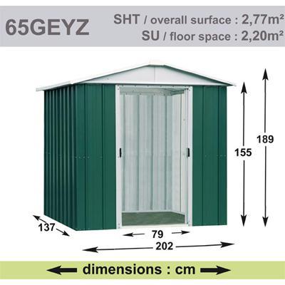 Abri de Jardin en Métal galvanisé - GEYZ - 2 m² : Longueur 2 m, largeur 1,37 m, hauteur 1,9 m