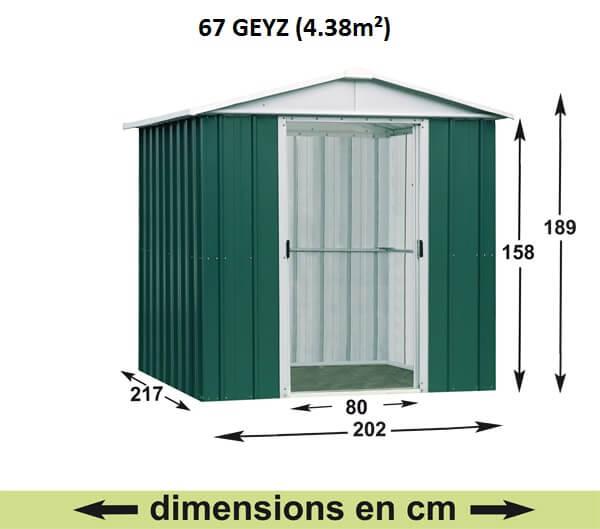 Abri de Jardin en Métal galvanisé - GEYZ - 4 m² : Longueur 2 m, largeur 2,1 m, hauteur 1,9 m