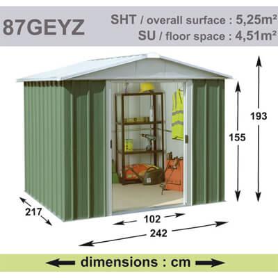 Abri de Jardin en Métal galvanisé - GEYZ - 5 m² : Longueur 2,4 m, largeur 2,1 m, hauteur 1,9 m