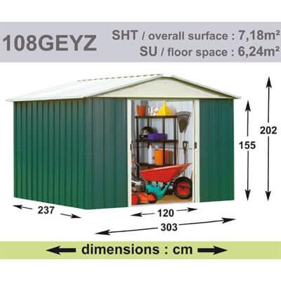 Abri de Jardin en Métal galvanisé - GEYZ - 7 m² : Longueur 3 m, largeur 2,4 m, hauteur 2 m