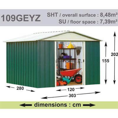 Abri de Jardin en Métal galvanisé - GEYZ - 8 m² : Longueur 3 m, largeur 2,8 m, hauteur 2 m
