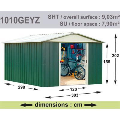Abri de Jardin en Métal galvanisé - GEYZ - 9 m² : Longueur 3 m, largeur 3 m, hauteur 2 m